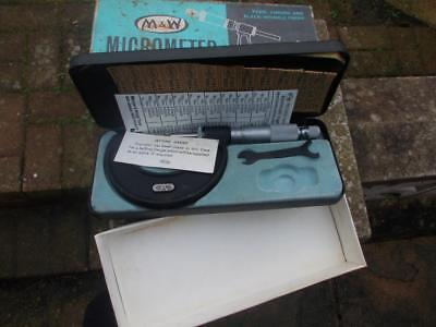 VINTAGE M & W 966M 25-50mm MICROMETER  WITH ORIGINAL BOX TOOLS AND PACKAGING