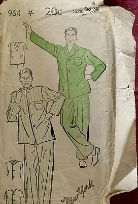 Vintage New York Co Sewing Pattern-Men's Pajamas Size 36-38 Non Printed 1940's