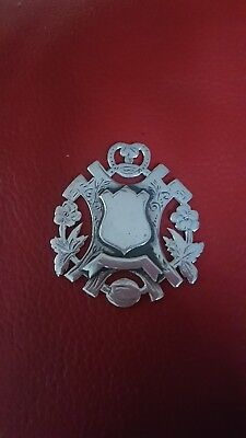 ANTIQUE STERLING SILVER SHIELD FOB MEDALLION 1902 by William Hair Haseler