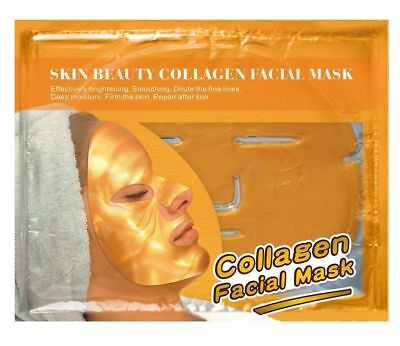 5x Gold Skin Beauty Collagen Facecial Mask Antifalten Maske Pflegt