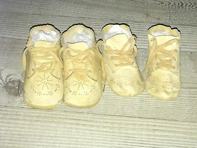 Old Lot Antique Baby Infant Shoes Leather Knitted Vintage White Pairs