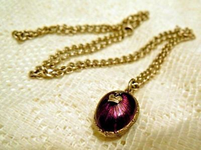 FABERGE Antique Imperial RUSSIAN EGG Enamel purple Pendant ,84 silver.