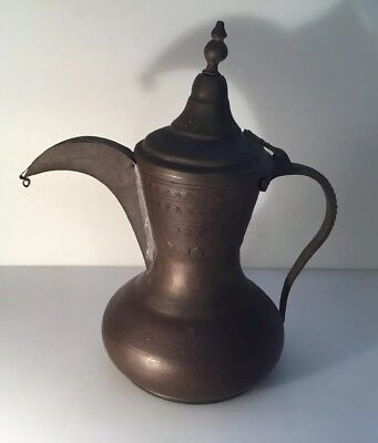 Antique Persian/ Middle-East Brass-Copper Dallah Coffee Pot- Hand Hammered