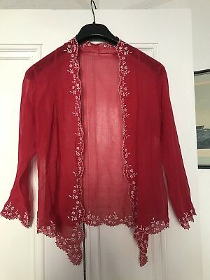 1970s Hand Sewn Red Top / Shawl With White Embroidery Partern Vintage Retro