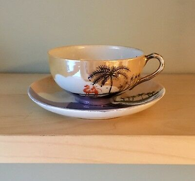 1930s Vintage Hand-Painted Japanese Lustreware Tea Cup and Saucer Set