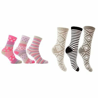 Womens/Ladies Cotton Rich Patterned Socks (Pack Of 3) (W473)