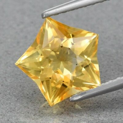 Top! VVS 1.72ct 8.5x8.3mm Star Natural Yellow Citrine, Brazil