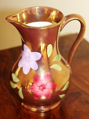 Vintage Oldcourt Pottery Lustre Ware Jug With Flowers