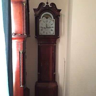 Antique 8 Day, Moon Phase Long Case Clock by T Clowes Nantwich