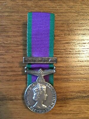 A Genuine General Service Medal miniature Northern Ireland Clasp. Court Mounted.