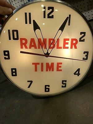 """Vintage Lighted Wall Clock """" Rambler Time """""""