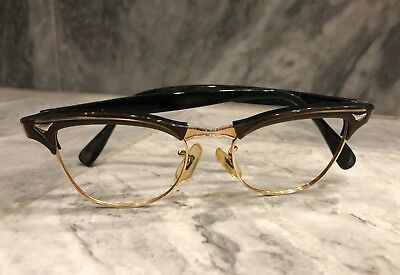 TRUE VINTAGE 1950s AMERICAN OPTICAL 1/10 12K GF EYEGLASS FRAMES 46-18-130 5 1/2