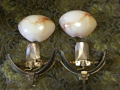Pair Art Deco wall lights, lamps need rewiring