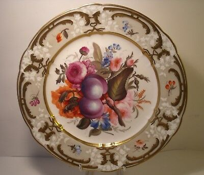"Superb 9.25"" Coalport? 19th Century Hand Painted Fruit And Flowers Plate (1)"