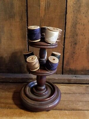 Antique~Primitive~Vintage~Sewing~ Wood Spool Thread Holder~J&p Coats