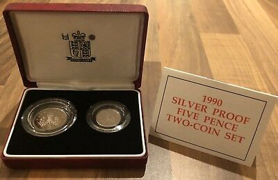 Royal Mint 1990 Silver Proof Five Pence Two Coin Set
