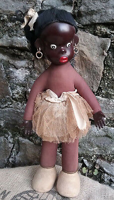 """RARE Vintage old French celluloid character doll by Urika, 1940s, 13 1/2"""""""