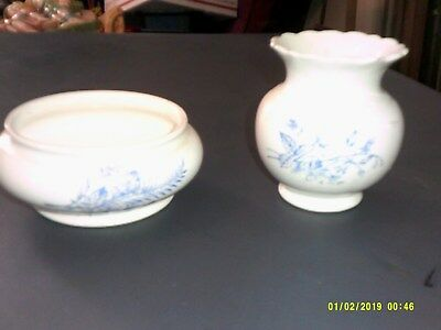 2 Vintage Semi-Vitreous Porcelain Pieces Vase Compote K.t.& M. Co