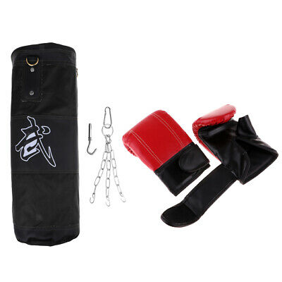 KickBoxing Set Empty Punching Bag Boxing Bag Gloves Wraps MMA Mitts Durable