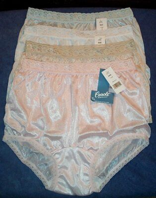 4 Pair Lace Elastic 100% Nylon Assorted Panties Size 7 Carole Panty USA Made