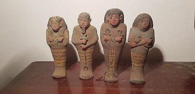 Rare Antique Ancient Egyptian 4Ushabti work As sevant,minions scarab1640-1520BC