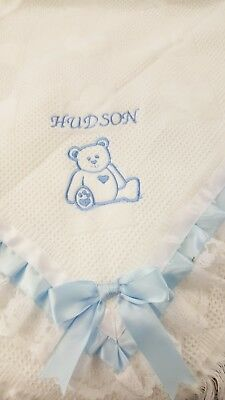 "New "" Teddy"" baby boy/girl shawl   (Embroidered personalized free) newborn name"