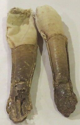 """G629 Antique Leather Doll Arms for Antique Fashion or China Parian Doll 4"""" Long"""