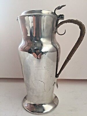Antique William Sucking & Sons Silver Plated Hot Water Jug With Wicker Handle
