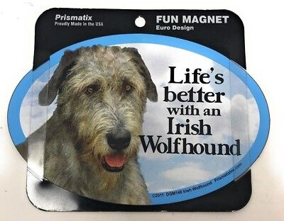 LIFE'S BETTER WITH AN IRISH WOLFHOUND MAGNET Dog, Cars, Trucks. Lockers