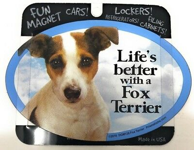 LIFE'S BETTER WITH A FOX TERRIER MAGNET Dog, Cars, Trucks. Lockers