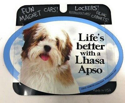 LIFE'S BETTER WITH A LHASA APSO MAGNET Dog, Cars, Trucks. Lockers