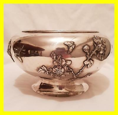Pao Kuang Large Chinese Silver Bowl, 609 Grams,circa 1870, Prunus Butterflies