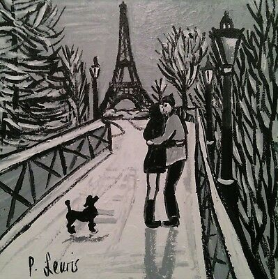 PHIL LEWIS -ROMANTIC WINTER WALK EIFFEL TOWER PARIS French poodle 20cmx20cm8x8""