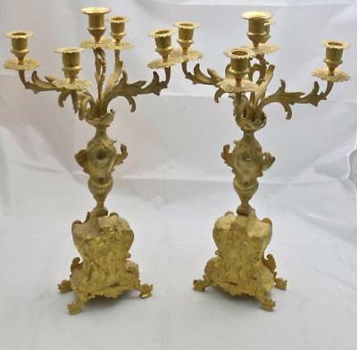 Beautiful Pair Of  Antique French 1880s Embossed Bronze 5 Branch Candelabras