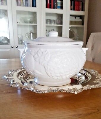 Large White Ceramic Soup Tureen or Table Centerpiece w/ Raised Fruits Pattern