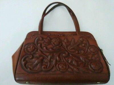 ViNTAGE MONT-ABUR, TOOLED LEATHER FLOWER & BIRDS HAND BAG PURSE MADE IN MEXICO