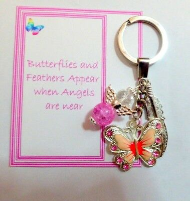 Butterflies and Feathers Appear when Angels are Near Memorial Key Ring Gift Pink