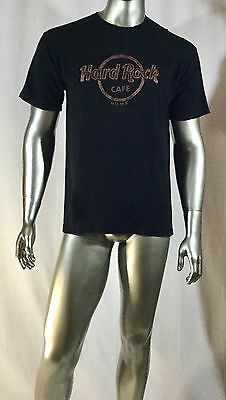 Hard Rock Cafe T Shirt Rome with raised leather emblem Size Large col black