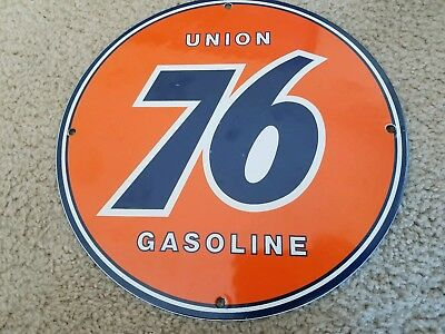 "Vintage Union 76 Gasoline Station Porcelain Metal 12"" Gas Oil Pump Plate Sign"