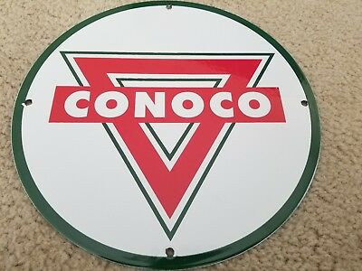 Vintage Conoco Gasoline Sign Porcelain Gas Pump Plate Station Minute Man Oil
