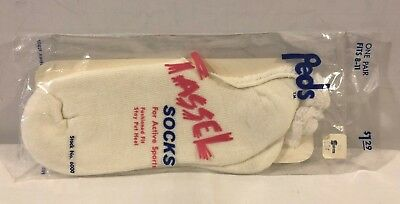 Vintage Peds Tassel Sport Socks low cut White Women's socks fits size 8 -11