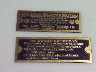 Lake Breeze Fan Stirling Hot Air Fan Reproduction nameplates set of 2