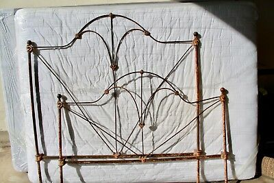 "Antique Vintage original Americana 1910s QUEEN Size Iron Bed 54"" Wide X 59"" Tall"