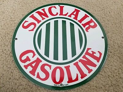 "Vintage ""sinclair Gasoline Stripes"" 11 3/4"" Porcelain Metal Gas Pump Plate Sign"