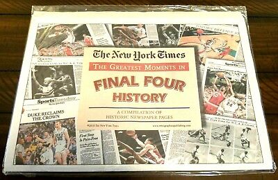 Rare New York Times Great Moments In Final 4 History -  67 Different Front Pages