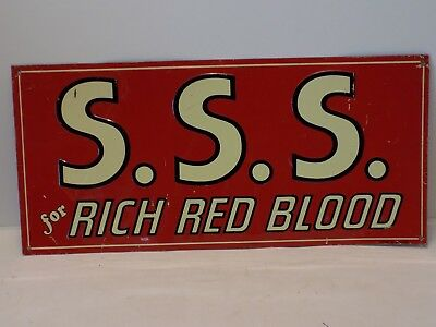 S.s.s. Embossed Tin Metal Advertising Sign - For Rich Red Blood