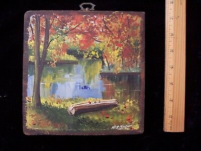 VINTAGE 1937 Signed Oil On Board Art Painting Fall Landscape Stream