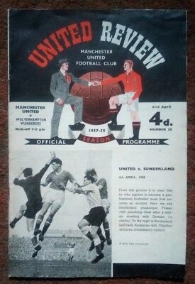 "Manchester United v Wolves 1957/1958 ""Munich Season"" + Token Nr Mint Condition"