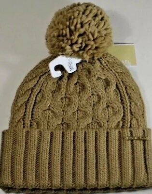 387a99870f MICHAEL KORS CABLE KNIT BEANIE HAT CAMEL WITH POM POM Gently Used ...