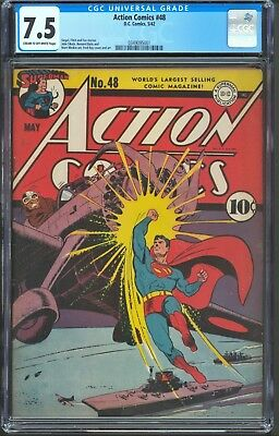 Action Comics 48 CGC 7.5 VF- DC 1942 Superman Classic Japanese WWII Cover Rare
